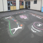 Playground Games Markings in Arddleen/Arddl 11