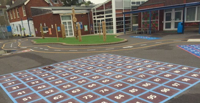 Educational Thermoplastic Markings in Aire View