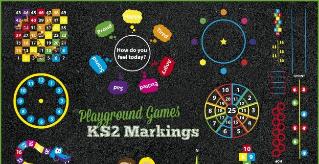 Key Stage 2 Playground Markings in Aldermaston Wharf